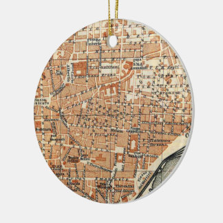 Vintage Map of Catania Italy (1905) Ceramic Ornament