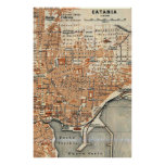 Vintage Map of Catania Italy (1905) Poster