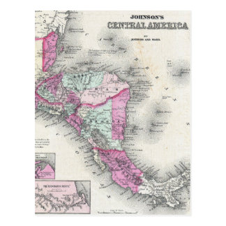 Vintage Map of Central America (1864) Postcard