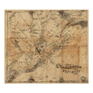 Vintage Map of Charleston South Carolina (1862) Poster
