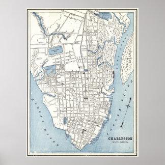 Vintage Map of Charleston South Carolina (1898) Poster
