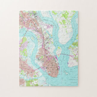 Vintage Map of Charleston South Carolina (1958) Jigsaw Puzzle