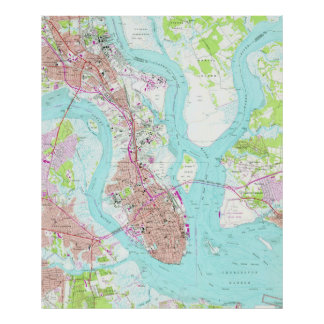 Vintage Map of Charleston South Carolina (1958) Poster