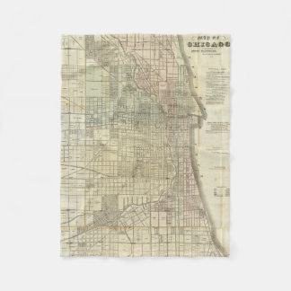 Vintage Map of Chicago (1857) Fleece Blanket