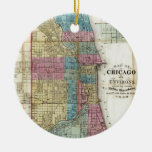 Vintage Map of Chicago (1869) Double-Sided Ceramic Round Christmas Ornament
