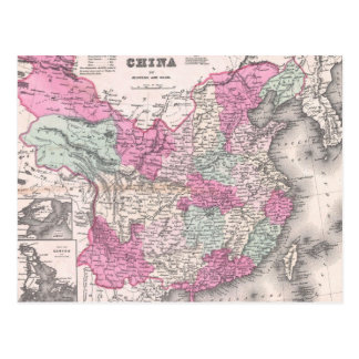 Vintage Map of China 1862 Post Card