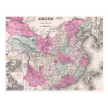 Vintage Map of China (1862) Postcard