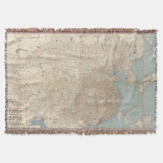 Vintage Map of China (1909) Throw Blanket