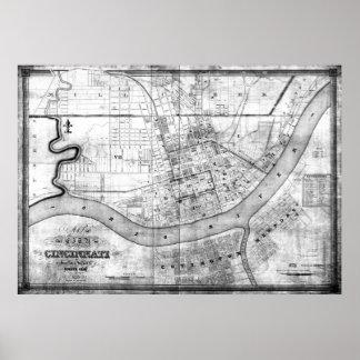 Vintage Map of Cincinnati Ohio (1838) BW Poster