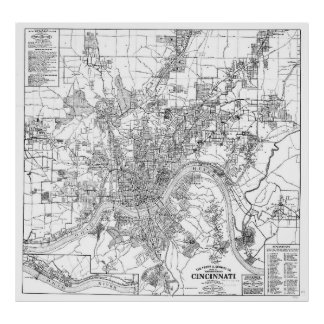 Vintage Map of Cincinnati Ohio (1915) BW Poster