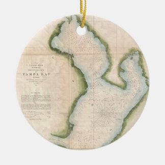 Vintage Map of Coastal Tampa Bay (1855) Ceramic Ornament