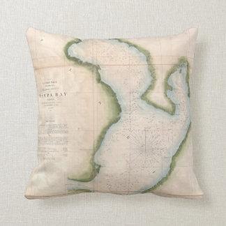 Vintage Map of Coastal Tampa Bay (1855) Cushion