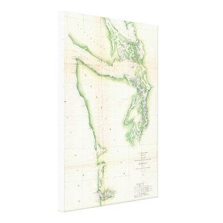 Vintage Map of Coastal Washington State (1857) Canvas Prints
