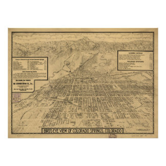Vintage Map of Colorado Springs CO (1909) Poster