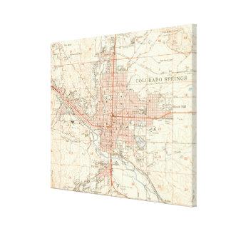 Vintage Map of Colorado Springs CO (1951) Canvas Print