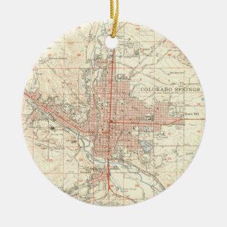 Vintage Map of Colorado Springs CO (1951) Ceramic Ornament