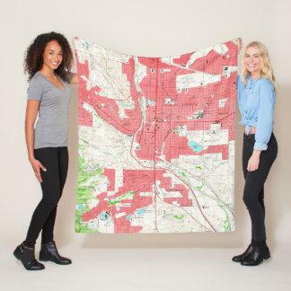 Vintage Map of Colorado Springs CO (1961) Fleece Blanket