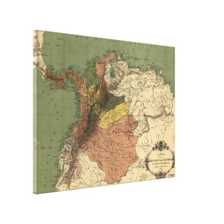 Vintage Map of Columbia (1886) Canvas Print