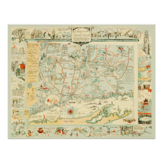 Vintage Map of Connecticut from 1926 Poster