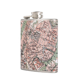 Vintage Map of Copenhagen Denmark (1888) Hip Flask