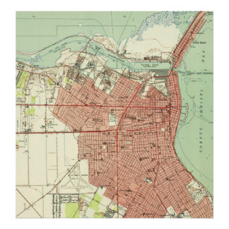 Vintage Map of Corpus Christi Texas (1951) Poster