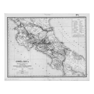 Vintage Map of Costa Rica (1903) BW Poster