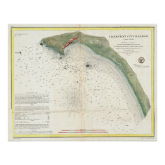 Vintage Map of Crescent City Harbor CA (1859) Poster