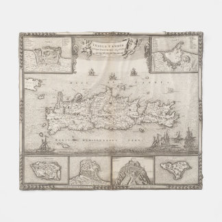 Vintage Map of Crete Greece (1680) Fleece Blanket