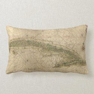Vintage Map of Cuba (1639) Lumbar Cushion