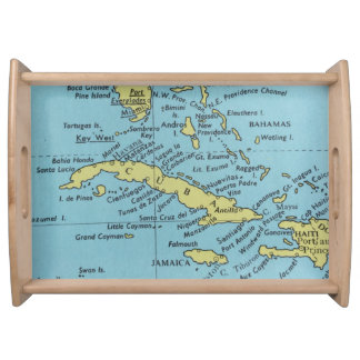 Vintage map of Cuba serving tray