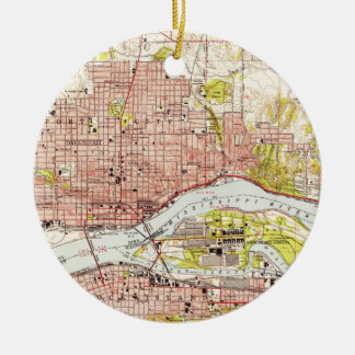 Vintage Map of Davenport Iowa (1953) Ceramic Ornament