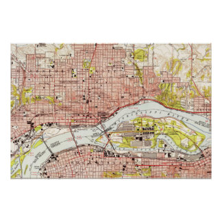 Vintage Map of Davenport Iowa (1953) Poster