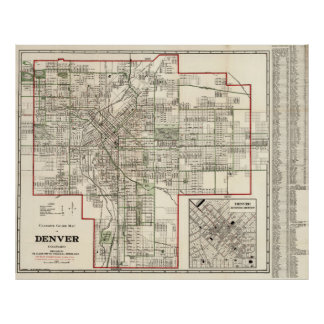Vintage Map of Denver Colorado (1920) Poster