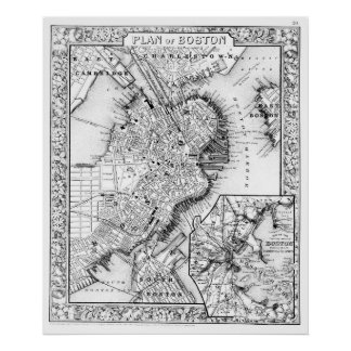 Vintage Map of Downtown Boston (1864) BW Poster