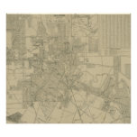 Vintage Map of Downtown Houston (1913) Poster