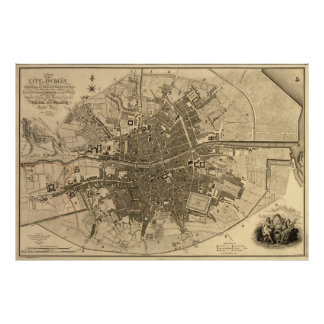 Vintage Map of Dublin Ireland (1797) Poster