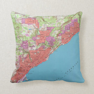 Vintage Map of Duluth Minnesota (1953) Cushion