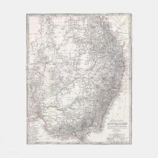 Vintage Map of Eastern Australia (1876) Fleece Blanket