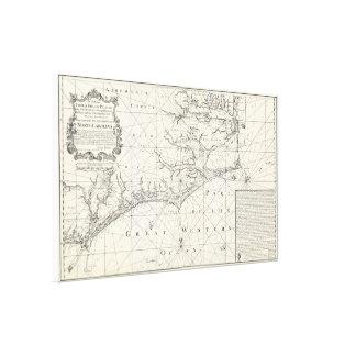 Vintage Map of Eastern North Carolina (1738) Canvas Print