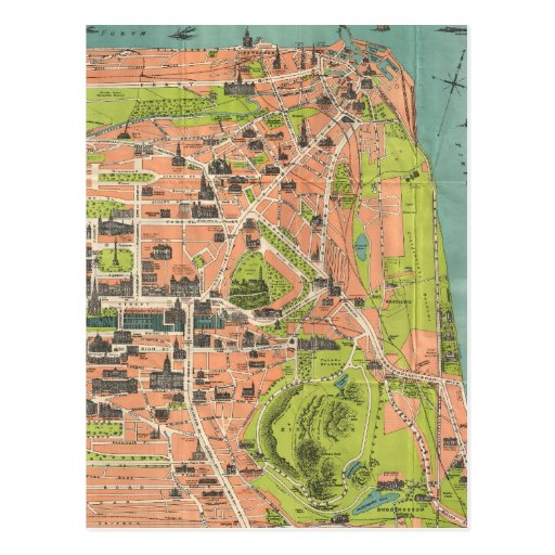 Vintage Map of Edinburgh Scotland (1935) Postcards