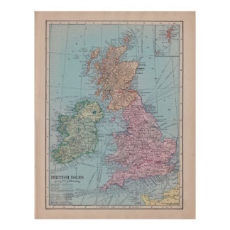 Vintage Map of England Poster