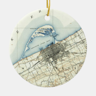 Vintage Map of Erie Pennsylvania (1899) Ceramic Ornament