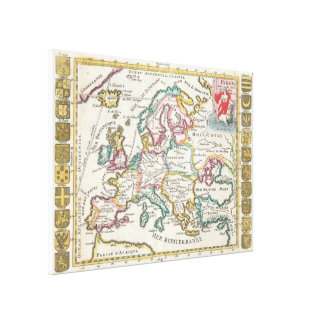 Vintage Map of Europe (1706) Canvas Print