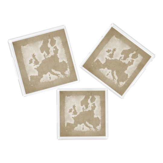 Vintage Map Of Europe Acrylic Tray
