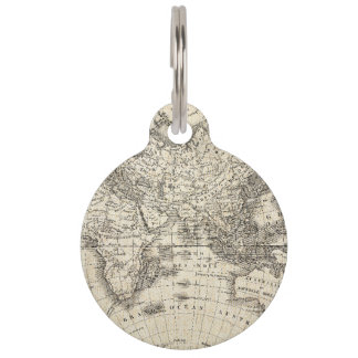 Vintage Map Of Europe and Asia Pet ID Tag