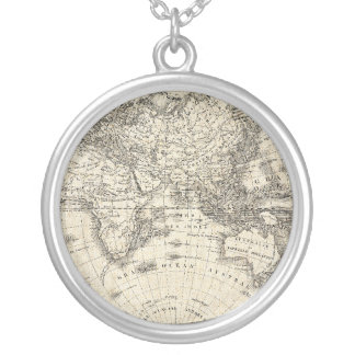 Vintage Map Of Europe and Asia Silver Plated Necklace