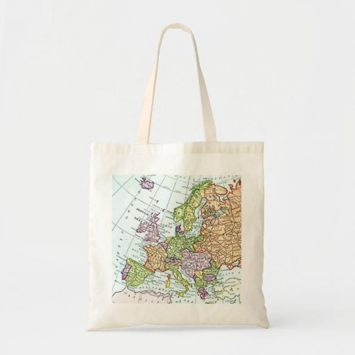 Vintage map of Europe colorful pastels Tote Bag