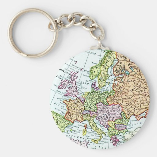 Vintage map of Europe colorful pastels Key Chain