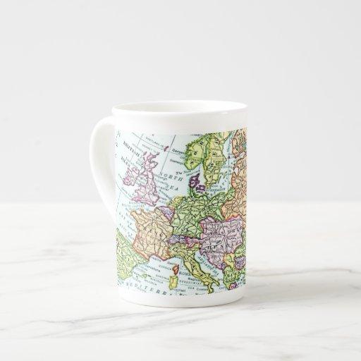Vintage map of Europe colorful pastels Porcelain Mugs