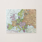 Vintage map of Europe colourful pastels Jigsaw Puzzle